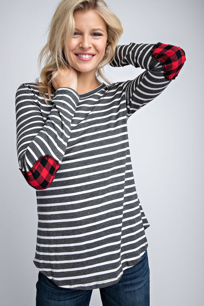 The Mia Striped Top with Buffalo Plaid Elbow Patches