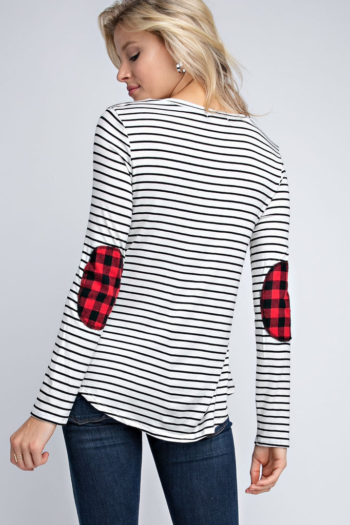 The Mia Striped Top with Buffalo Plaid Elbow Patches - Ivory
