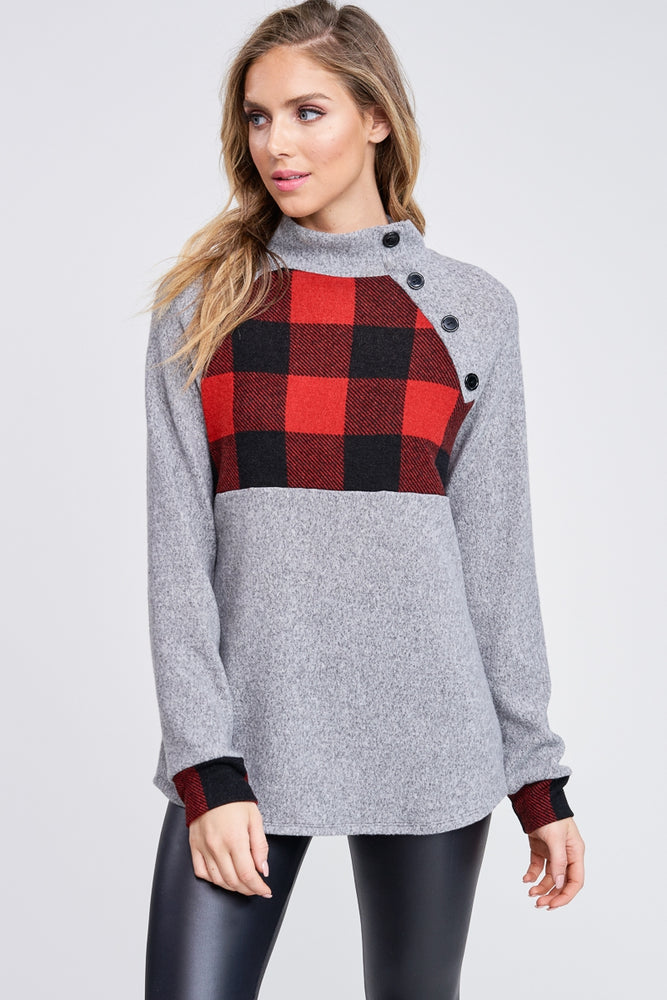 The Amanda Plaid Sweatshirt Pullover - Grey