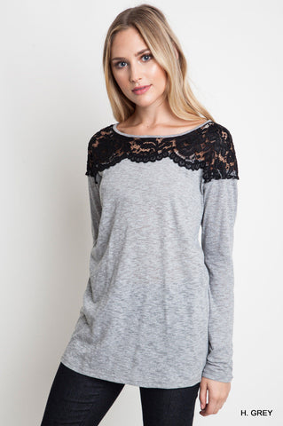 Heather Grey Lace Top