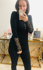 Black Lacey Sleeve Top