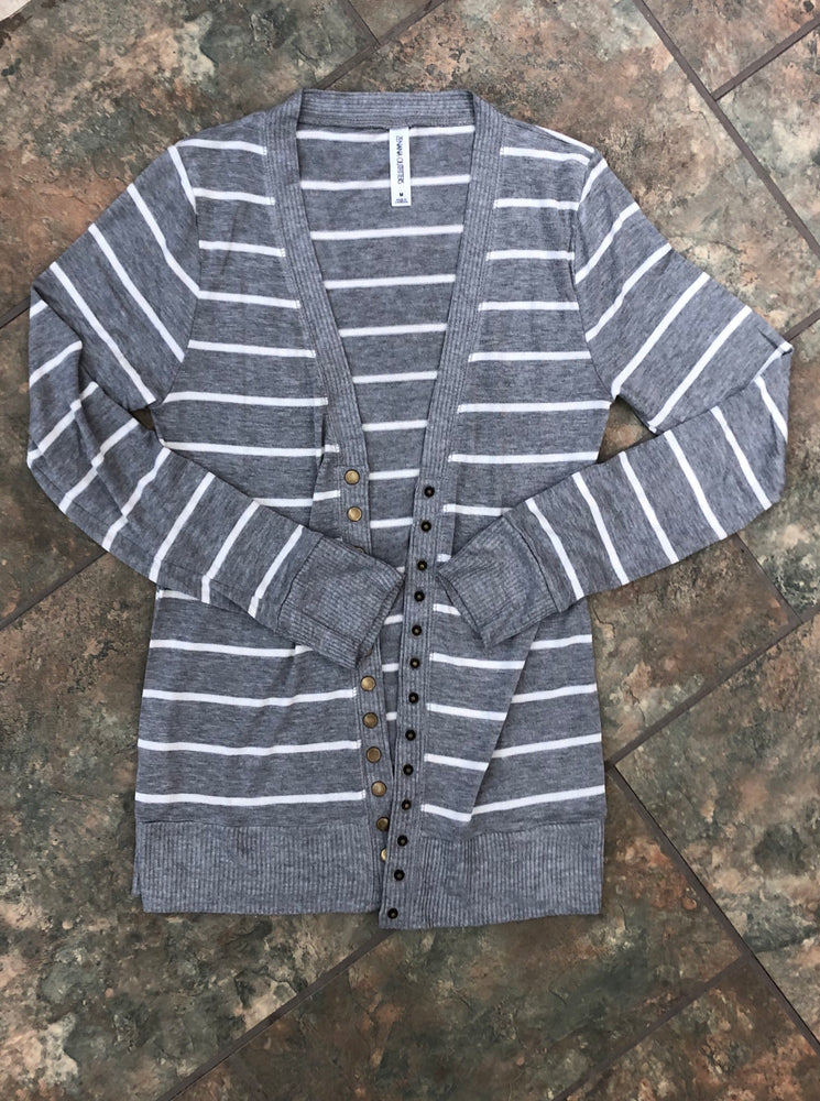 Must Have Cardigan - Heather Grey/White