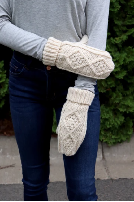 Cream Mittens Fleece Lined
