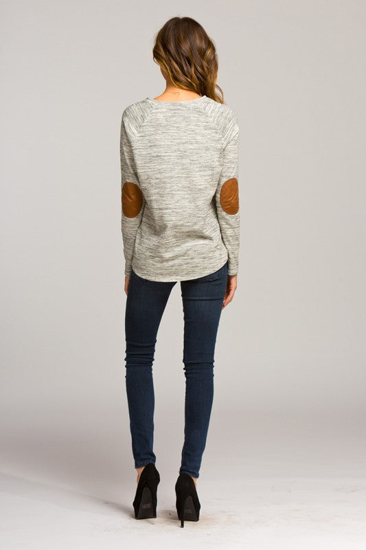marled raglan top with elbow patches