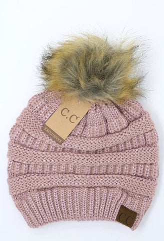Rose Metallic Beanie with Pom Pom