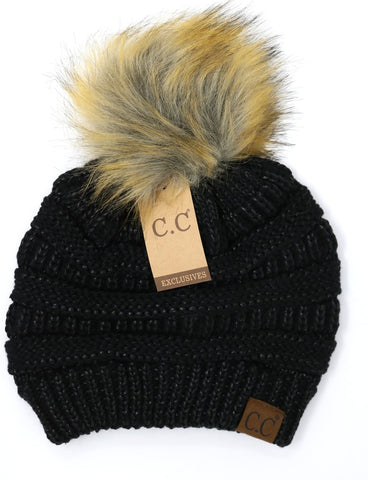 Black Metallic Beanie with Pom Pom
