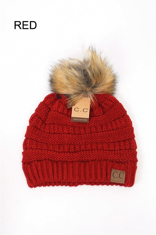 Red beanie with pom pom flat