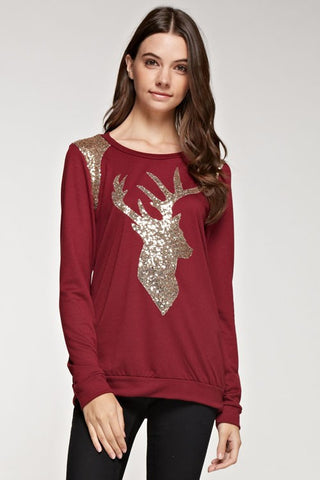 Sparkle Reindeer Top