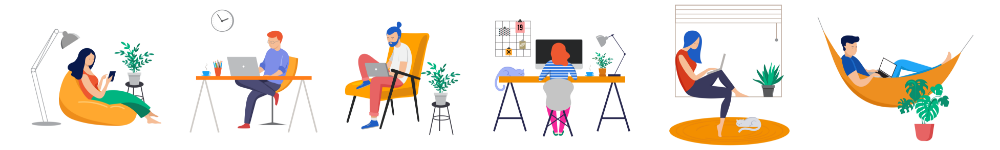 Illustration of people sitting on computers working around the house
