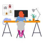 Illustration of lady sat working at desk