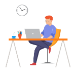 Illustration of man sitting at desk working