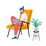 Illustration of man sat on chair working on laptop