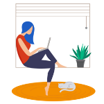 Illustration of lady working sat in windowsill