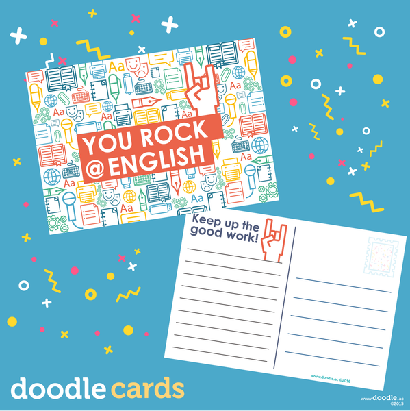 you rock doodle English cards
