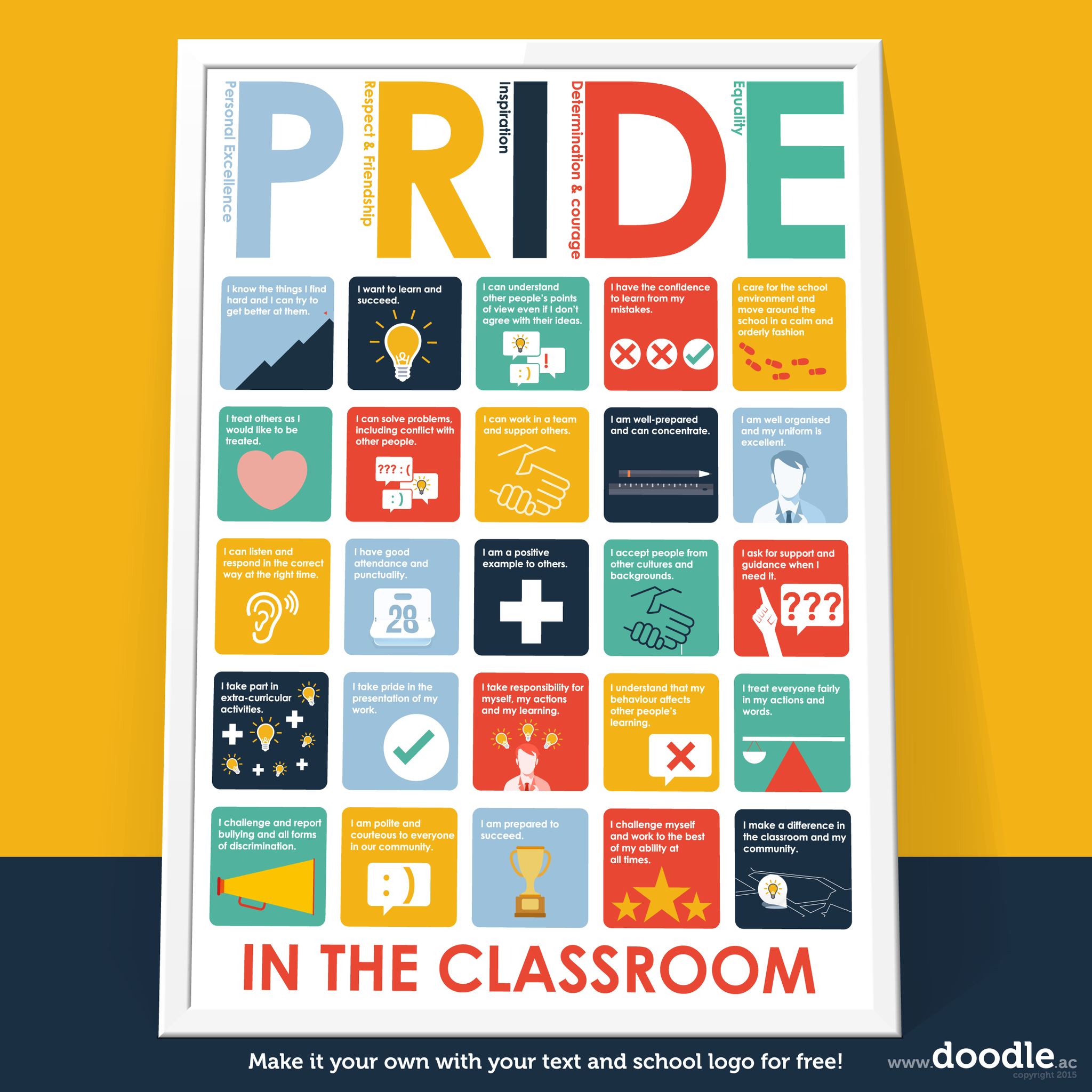 pride in the classroom poster - doodle education