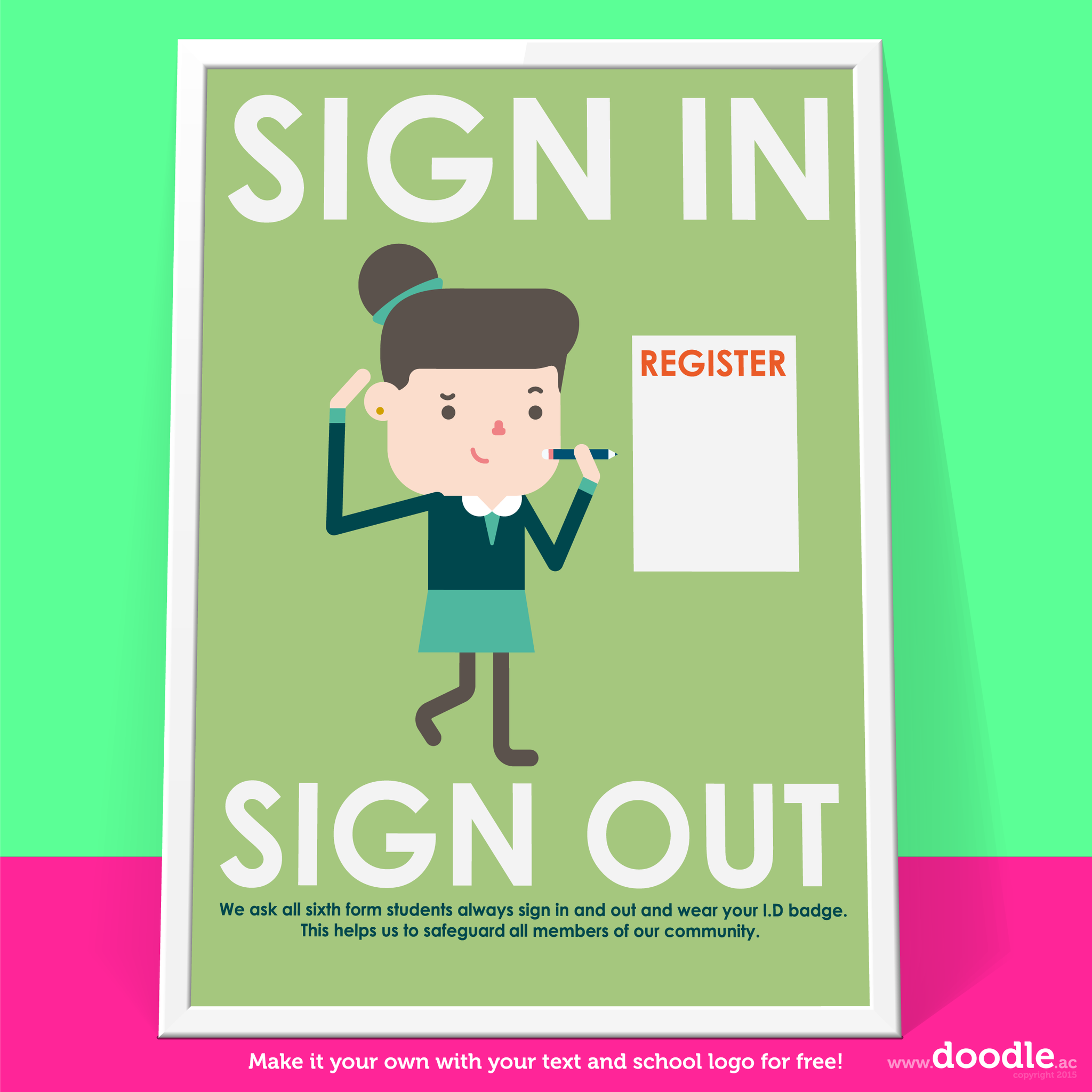 Sign in poster - doodle education