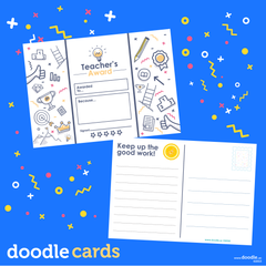 Teacher's award doodle cards - doodle education