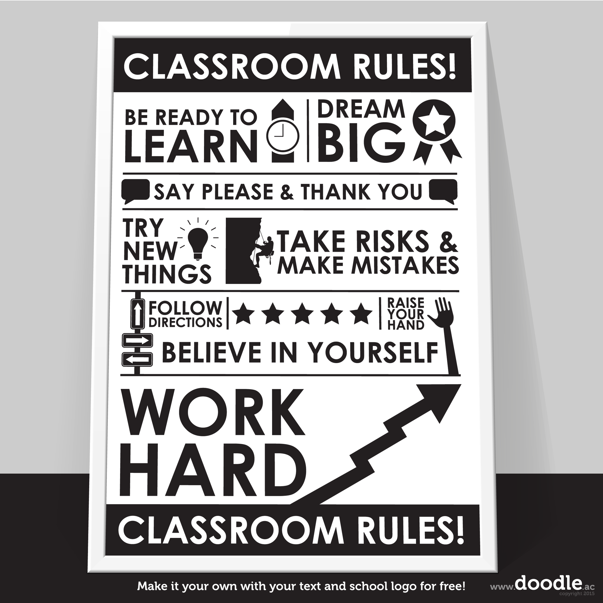 classroom rules poster - doodle education - 1