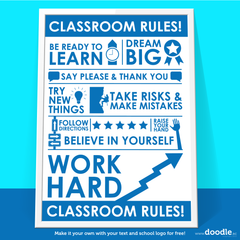 classroom rules poster - doodle education - 4