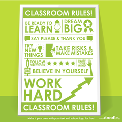 classroom rules poster - doodle education - 2