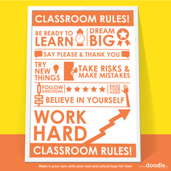 classroom rules poster - doodle education - 3