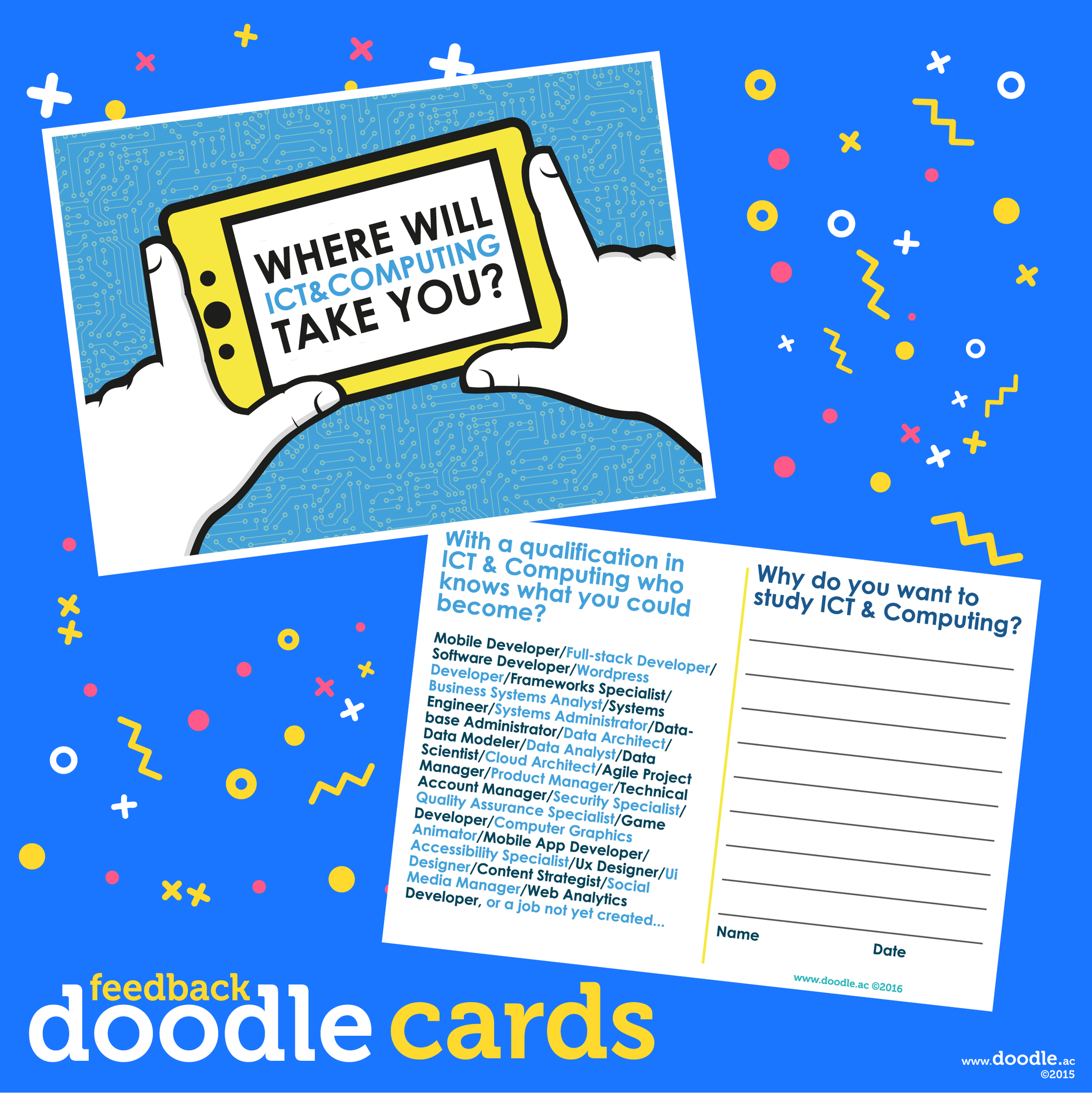 ICT & Computing doodle cards - doodle education