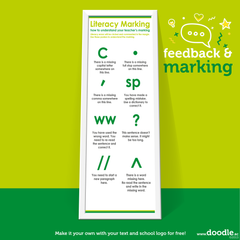 green literacy marking poster - doodle education