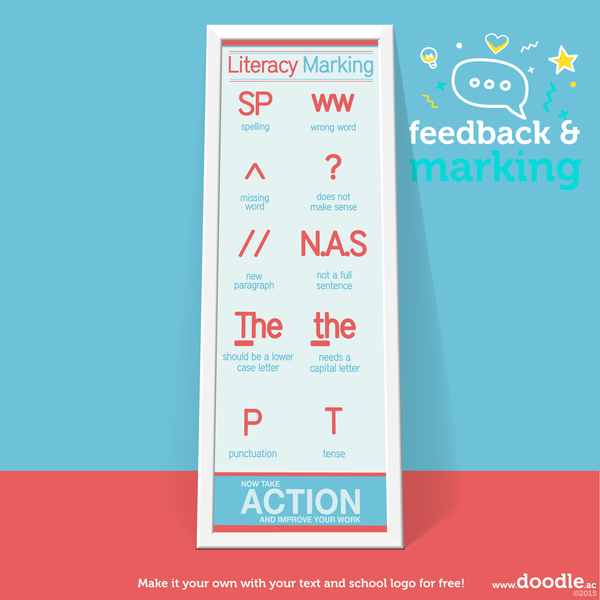 blue literacy marking poster
