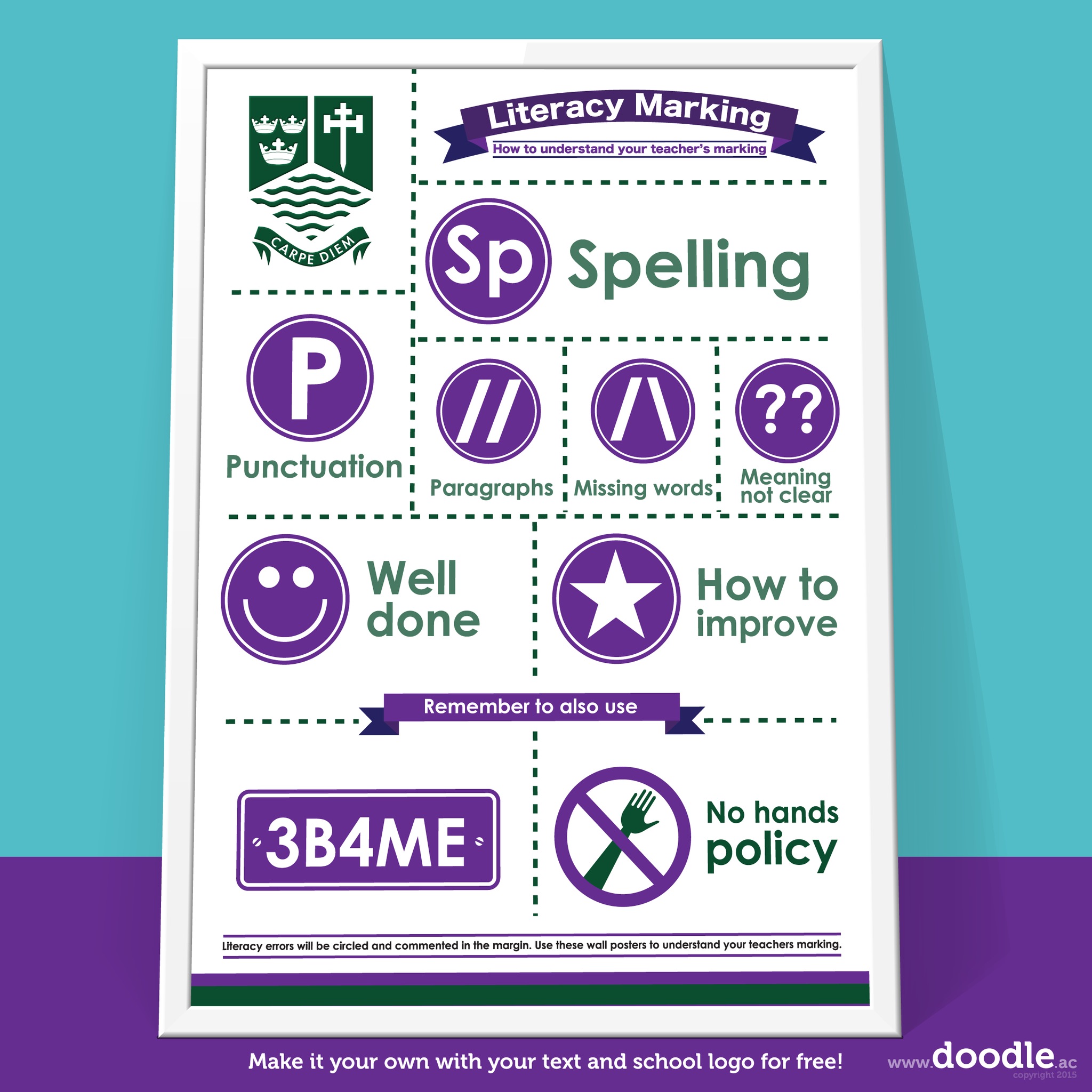 literacy marking poster - doodle education