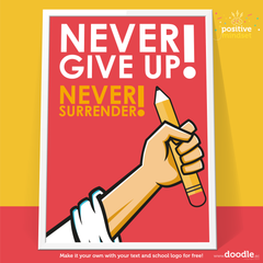 Never give up poster - doodle education