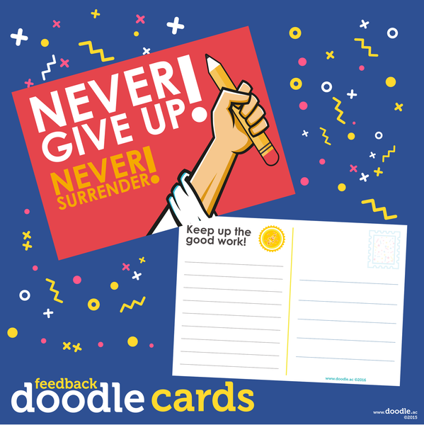 Never give up doodle cards