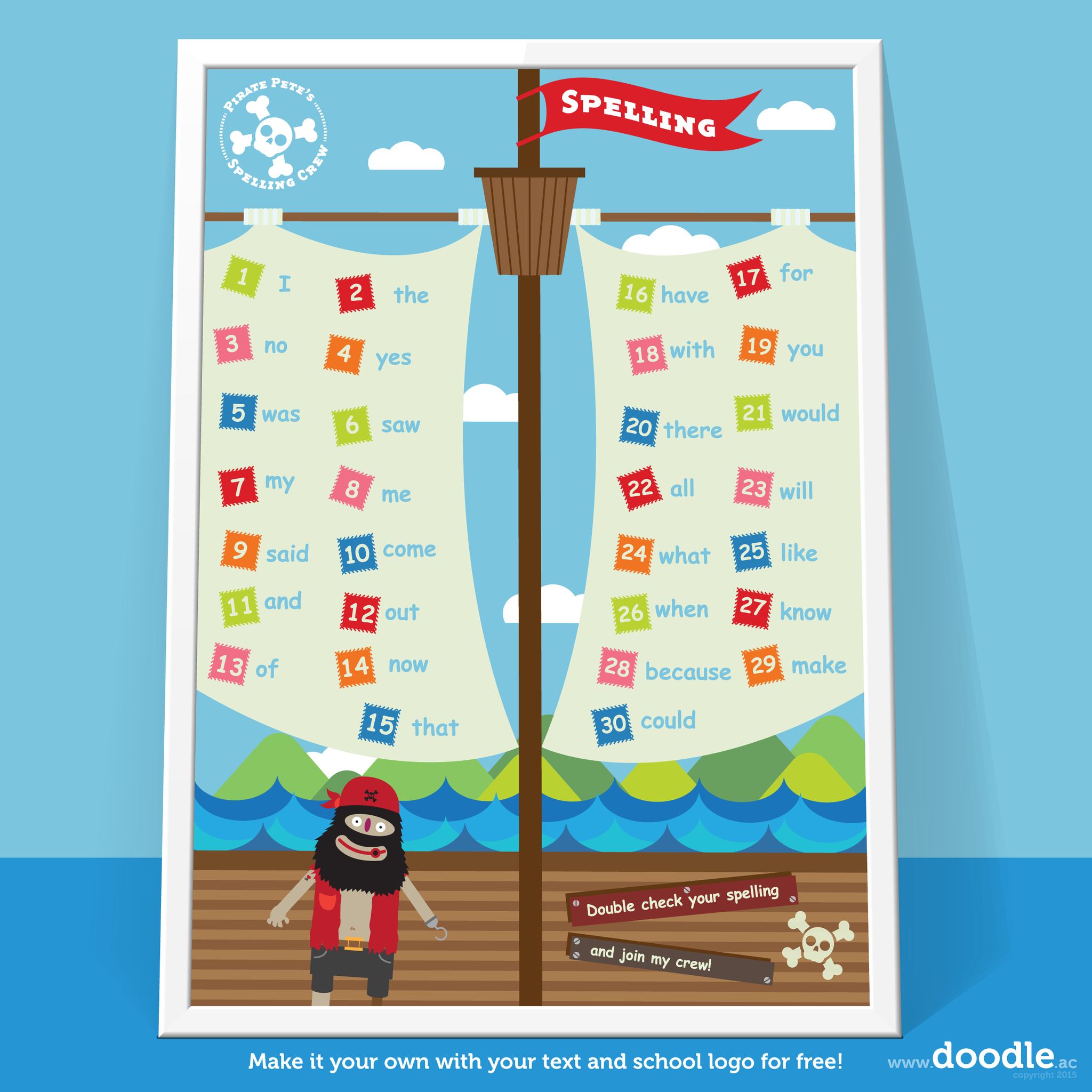 pirate pete spelling poster - doodle education