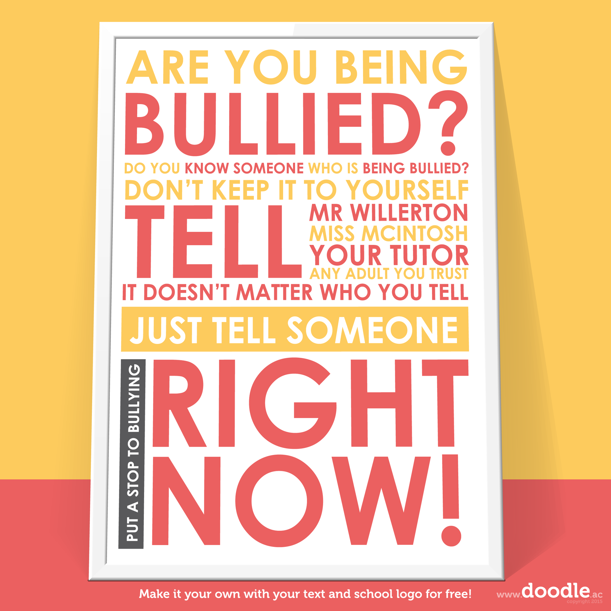 stop bullying poster - doodle education