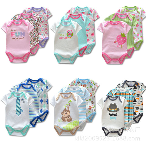 73d5bf2de0015 3 Pieces/lot Brand Summer Baby Boys Romper Animal style Short Sleeve cotton infant  rompers Jumpsuit cotton Baby Newborn Clothes