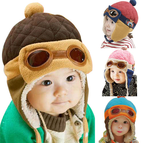 f562f9b7328 10 to 48 Months Baby Winter Hat 4 Colors Toddlers Cool Baby Boy Girl Infant  Winter Pilot Warm Kids Cap Hat Beanie