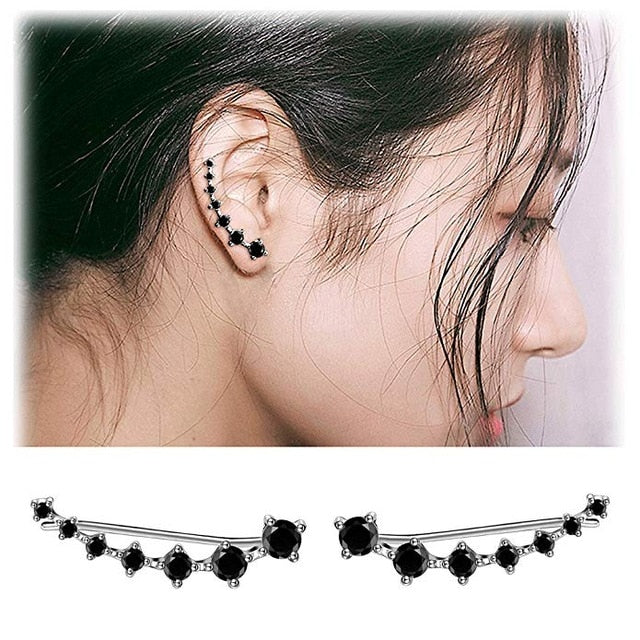 New High Quality Super Shiny Zircon 925 Sterling Silver Earring for Women Jewelry Wholesale Gift Ear row