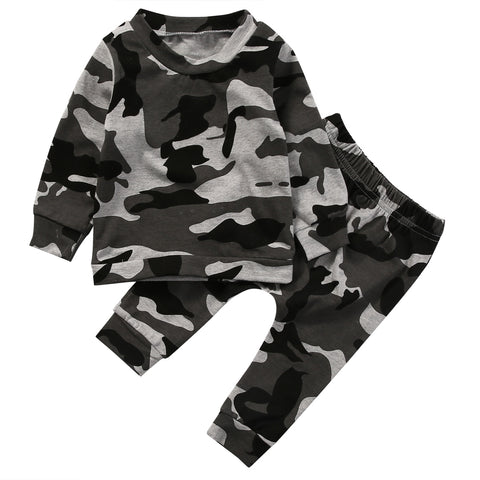 b9fd06fc3 2pcs new baby clothing set Toddler Infant Camouflage Baby Boy Girl Clothes T -shirt Tops+Pants Outfits Set