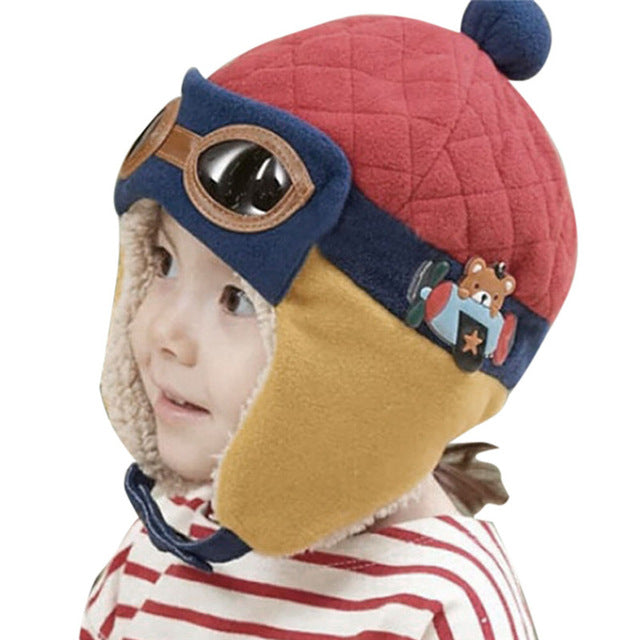 b4fd03661b578 10 to 48 Months Baby Winter Hat 4 Colors Toddlers Cool Baby Boy Girl Infant  Winter Pilot Warm Kids Cap Hat Beanie