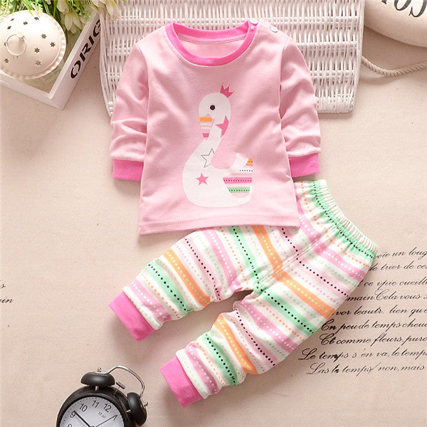 Pants 2PCS Outfi 2017 Newborn Baby Girls Clothes Set Cartoon Long Sleeved Tops