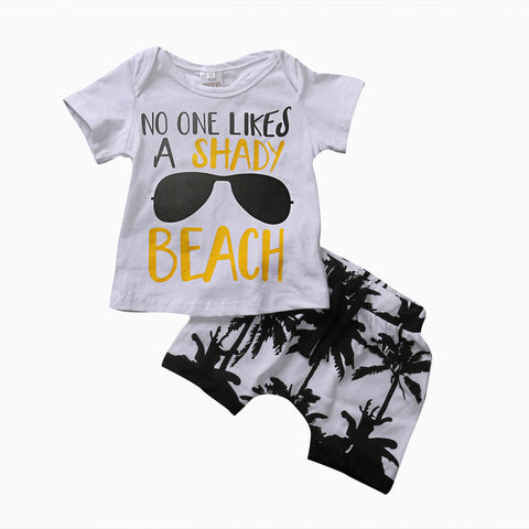Kids Baby Boy Summer Beach Clothes Coconut Tree Tops Tee+Short Pants Outfits Set