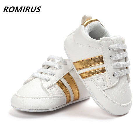 8ebcf3c5c Romirus Fashion baby moccasins PU Leather toddler first walker soft soled baby  girls shoes Newborn boys Sneakers for 0-18M