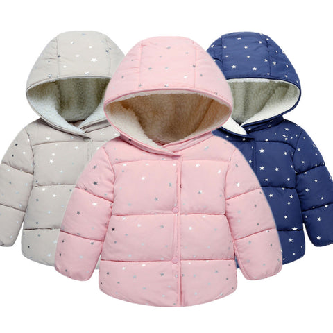 b7251dd4c5cf Winter Baby Girls Coats Jackets Infants Outerwear Cotton Hooded ...