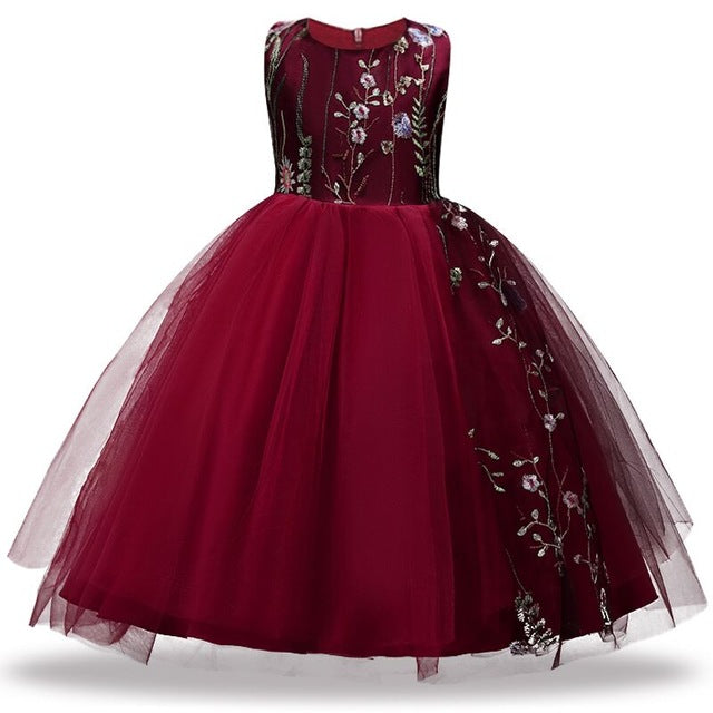 f9599d78089a38 ... 4-14 year Christmas Kids Girls Wedding Lace Long Girl Dress elegant  Princess Party Pageant ...