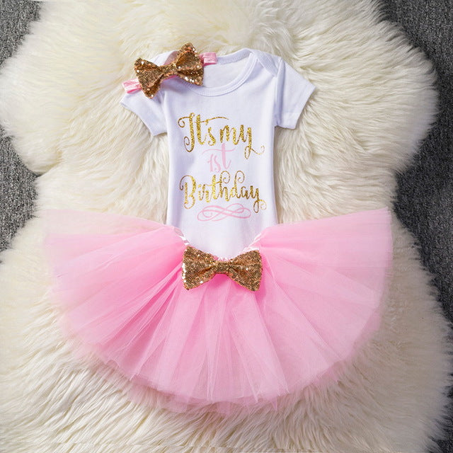 c558fee290b3f Kids Dresses For Girls 2018 Tutu Girls 1st First Birthday Party Infant  Dress Baby Girl 1 Year Baptism Clothes Vestido Infantil