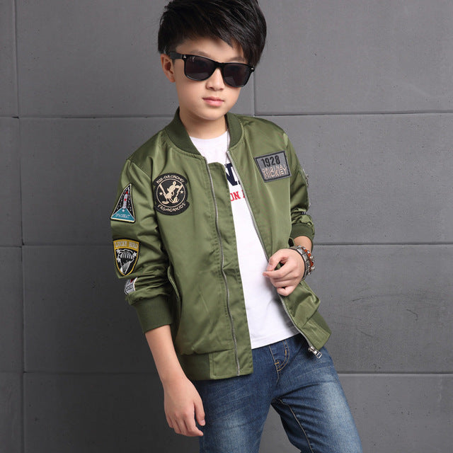 2d5a0b239e23 2018 Spring Autumn Jackets for Boys Coat Bomber Jacket Army Green ...