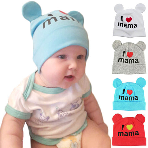 c9a3a9b55b3 2018 Baby Hat Newborn infant Baby Cotton Skullies I Love mama print Caps  Hats For Baby Girls Knitted Beanies Cap gorro infantil