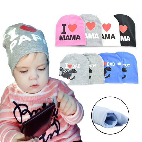 5f4f3043fed Baby Hats Knitted Cotton Toddler Beanie Baby Girl Boy I LOVE DAD MAMA Kids Cap  Girl Boy Photography Bonnet Kids Hat