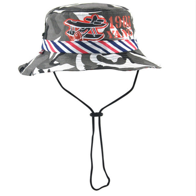 658d633b48e  JAMONT  Casual cotton children wide brim camo bucket hat kids boy girl  summer sun hat Camouflage fisherman panama fishing cap