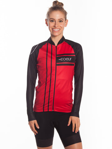 Long Sleeved Womens cycle Jersey  Red
