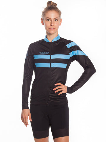Long Sleeved Womens cycle Jersey Blue